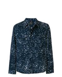 dunkelblaue bedruckte Shirtjacke