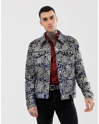 dunkelblaue bedruckte Shirtjacke von ASOS DESIGN