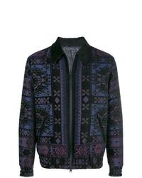 dunkelblaue bedruckte Shirtjacke von Etro