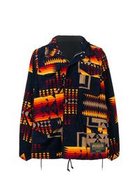 dunkelblaue bedruckte Shirtjacke von Sacai