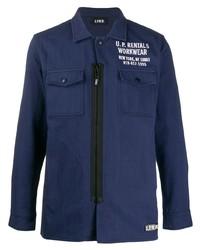 dunkelblaue bedruckte Shirtjacke von U.P.W.W.