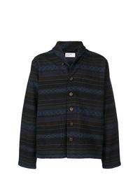 dunkelblaue bedruckte Shirtjacke von Universal Works