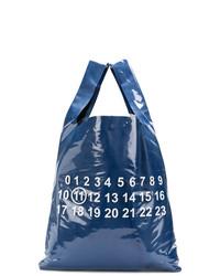 dunkelblaue bedruckte Shopper Tasche aus Leder von Maison Margiela