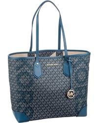 dunkelblaue bedruckte Shopper Tasche aus Leder von Michael Kors