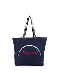 dunkelblaue bedruckte Shopper Tasche aus Segeltuch