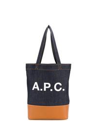 dunkelblaue bedruckte Shopper Tasche aus Segeltuch von A.P.C.