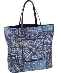 dunkelblaue bedruckte Shopper Tasche aus Segeltuch von Anokhi