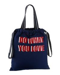 dunkelblaue bedruckte Shopper Tasche aus Segeltuch von Esprit