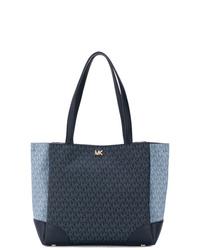 dunkelblaue bedruckte Shopper Tasche aus Segeltuch von MICHAEL Michael Kors