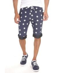 dunkelblaue bedruckte Shorts von FIOCEO