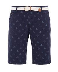 dunkelblaue bedruckte Shorts von WAY OF GLORY