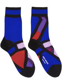 dunkelblaue bedruckte Socken von Issey Miyake