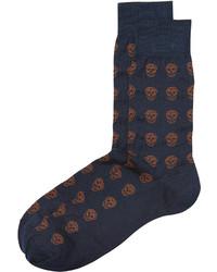 dunkelblaue bedruckte Socken