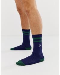 dunkelblaue bedruckte Socken von Fred Perry