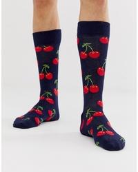 dunkelblaue bedruckte Socken von Happy Socks