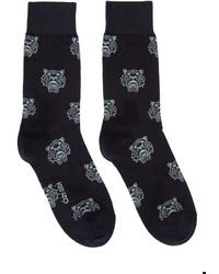 dunkelblaue bedruckte Socken von Kenzo