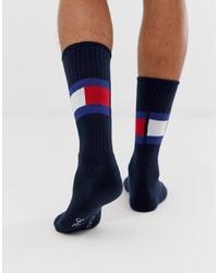 dunkelblaue bedruckte Socken von Tommy Hilfiger