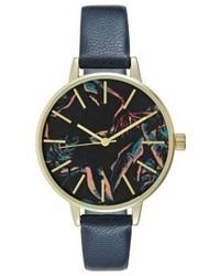 dunkelblaue bedruckte Uhr von Even&Odd