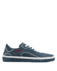 dunkelblaue bedruckte Wildleder niedrige Sneakers von Etro