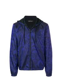 dunkelblaue bedruckte Windjacke von Versace