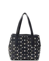 dunkelblaue beschlagene Shopper Tasche aus Leder von Jimmy Choo