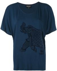 dunkelblaue bestickte Bluse von Emporio Armani