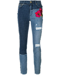 dunkelblaue bestickte enge Jeans von Dolce & Gabbana
