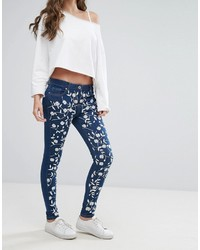 dunkelblaue bestickte enge Jeans