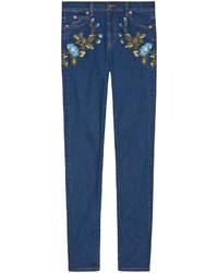dunkelblaue bestickte enge Jeans von Gucci