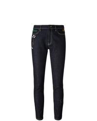 dunkelblaue bestickte enge Jeans von Mira Mikati