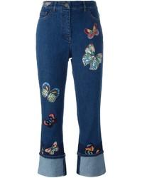 dunkelblaue bestickte Jeans