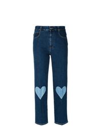 dunkelblaue bestickte Jeans von Stella McCartney