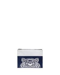 dunkelblaue bestickte Segeltuch Clutch Handtasche von Kenzo