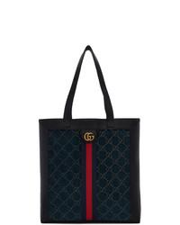 dunkelblaue bestickte Shopper Tasche aus Segeltuch von Gucci