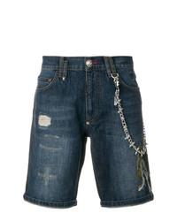 dunkelblaue bestickte Shorts von Philipp Plein