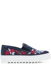 dunkelblaue bestickte Slip-On Sneakers aus Jeans von Salvatore Ferragamo