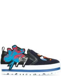 dunkelblaue bestickte Slip-On Sneakers aus Leder von MSGM