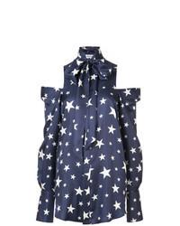 dunkelblaue Bluse mit Knöpfen mit Sternenmuster