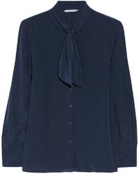 dunkelblaue Bluse mit Knöpfen