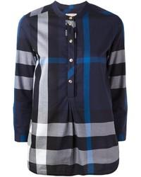 dunkelblaue Bluse mit Schottenmuster von Burberry