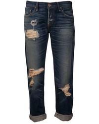dunkelblaue Boyfriend Jeans mit Destroyed-Effekten