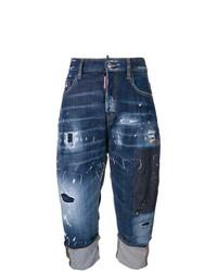 dunkelblaue Boyfriend Jeans mit Destroyed-Effekten von Dsquared2