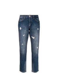 dunkelblaue Boyfriend Jeans mit Destroyed-Effekten von Philipp Plein