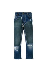 dunkelblaue Boyfriend Jeans mit Flicken von Dolce & Gabbana