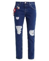 dunkelblaue Boyfriend Jeans von River Island