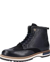 dunkelblaue Brogue Stiefel aus Leder von Pantofola D'oro