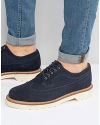 dunkelblaue Brogue Stiefel aus Wildleder