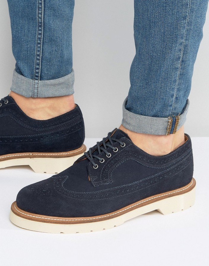 dunkelblaue Brogue Stiefel aus Wildleder von Dr. Martens