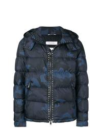 dunkelblaue Camouflage Daunenjacke von Valentino