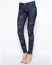 dunkelblaue Camouflage enge Jeans von YMC